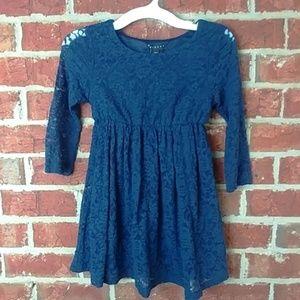 Girls Sisley blue lace long sleeve dress twins